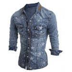 cheap Star Printed Long Sleeve Pocket Denim Shirt