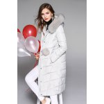 Fox Fur Hooded Quilted Down Coat for sale