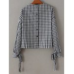 cheap Checked Back Button Fly Blouse