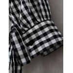 best Checked Back Button Fly Blouse