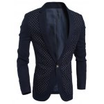 cheap Chest Pocket Notch Lapel Polka Dot Blazer