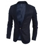 Chest Pocket Notch Lapel Polka Dot Blazer