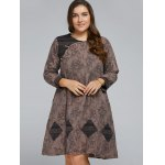 Frog Button Long Sleeve Plus Size Dress