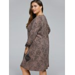 best Frog Button Long Sleeve Plus Size Dress