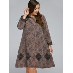 Frog Button Long Sleeve Plus Size Dress for sale