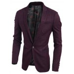 Plaid Notch Lapel Breast Pocket Single Button Blazer