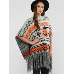 Hallowmas Jacquard Fringed Cape Sweater for sale