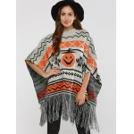 cheap Hallowmas Jacquard Fringed Cape Sweater