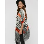 best Hallowmas Jacquard Fringed Cape Sweater