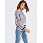 cheap One-Shoulder Color Block Loose Knitwear