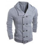 cheap Long Sleeve Side Pocket Double Breasted Hoodie