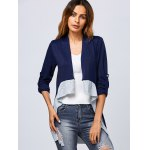 cheap Asymmetric Color Block Cardigan