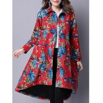Ethnic Style Floral Print Shirt Coat