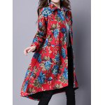 Ethnic Style Floral Print Shirt Coat deal
