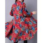 Ethnic Style Floral Print Shirt Coat for sale