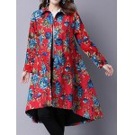 cheap Ethnic Style Floral Print Shirt Coat