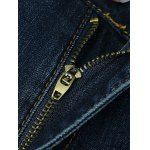 Zipper Fly Plus Size Edging Spliced Straight Leg Jeans photo