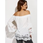 Off The Shoulder Lacework Splicing Blouse for sale