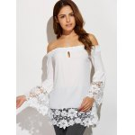 cheap Off The Shoulder Lacework Splicing Blouse