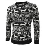 cheap Deer Pattern Crew Neck Snowflake Christmas Sweater