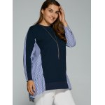 Long Sleeve Plus Size Striped Insert Top deal