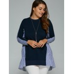 cheap Long Sleeve Plus Size Striped Insert Top