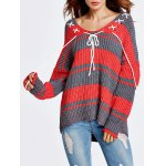 Lace-Up Color Block Baggy Sweater