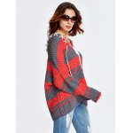 cheap Lace-Up Color Block Baggy Sweater