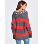 Lace-Up Color Block Baggy Sweater deal