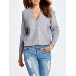 Buttoned Cropped Loose Cardigan