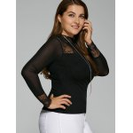 Plus Size Lace Insert Elastic T-Shirt with Long Sleeve deal