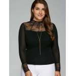 cheap Plus Size Lace Insert Elastic T-Shirt with Long Sleeve