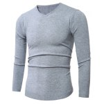 cheap Slim-Fit V-Neck Stretchy Pullover Knitwear