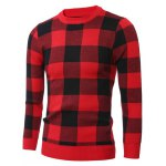 cheap Slim-Fit Crew Neck Checkered Pullover Sweater