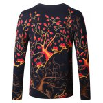 cheap Crew Neck Tree Pattern Color Block Long Sleeve Sweater