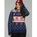 cheap Plus Size Snowflake Christmas Jacquard Knit Sweater
