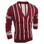 cheap Graphic V Neck Pinstripe Button Up Cardigan