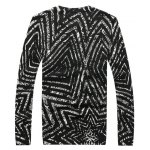 cheap Crew Neck Striped Pattern Color Splicing Long Sleeve Sweater