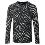Crew Neck Striped Pattern Color Splicing Long Sleeve Sweater