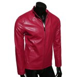 cheap Stand Collar Slimming Zip-Up PU-Leather Jacket