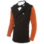 cheap Double Breasted Epaulet Design Color Block Coat