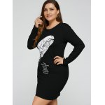 Plus Size Feather Print Dress deal