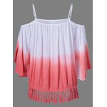 cheap Fringed Ombre Color Blouse