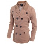 cheap Double Breasted Knitted Collar Spliced Coat