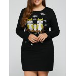 Plus Size Night Owl Embroidery Dress
