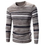 Crew Neck Waviness Splicing Pattern Long Sleeve Sweater