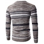 cheap Crew Neck Waviness Splicing Pattern Long Sleeve Sweater
