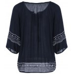 cheap Embroidery Loose Peasant Blouse