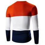 cheap V-Neck Color Block Splicing Graphic Print Long Sleeve Sweater