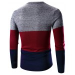 cheap Crew Neck Color Block Splicing Long Sleeve Sweater